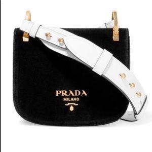 PRADA Pionniere Black Velvet Shoulder Bag